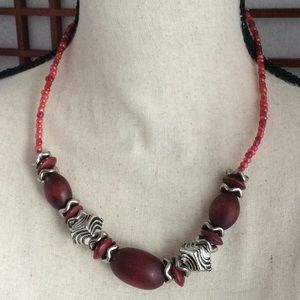 Jewelry - Red/Silver Bead Jeweled Necklace